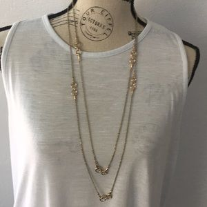 66 in Gold Finish Saddle Link Long Necklace